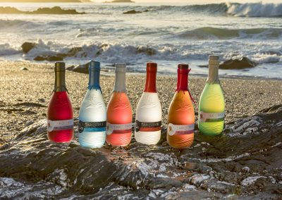 Tarquins Gin Range and Pastis with Ocean Background